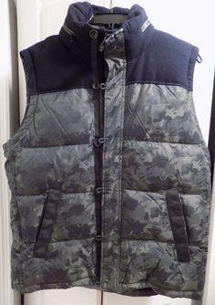 Tommy Hilfiger Men Puffer Warm Full Zip Vest Jacket Outer Coat hood camo wool L #TommyHilfiger #Vest