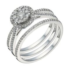 9ct white gold 1/2 carat diamond round halo bridal ring set - Ernest Jones