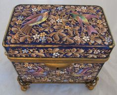 Exceptional casket....exquisite Moser type enamelled glass sugar casket, circa 1880, decorated with birds on flowering scroll branches