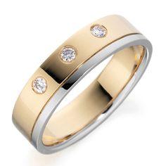 Women's Rub Over Diamond Two Tone Wedding Ring