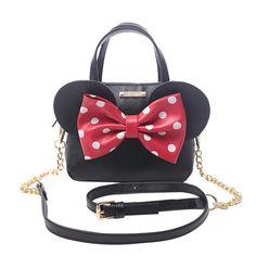 c96de7dbe2 Limited sale Fashion new Handbags High quality PU leather Women bag Mickey  Big Ear Shell Sweet bow Chain Shoulder Female bag