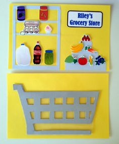 MOM-B-A Project: No-Sew Toddler Quiet Book Page Idea - Grocery Shopping, cart, food
