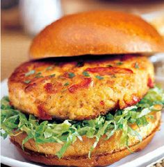Healthy Crab Cake Burgers Recipe Lunch and Snacks, Main Dishes with lump crab meat, eggs, panko breadcrumbs, light mayonnaise, chives, dijon mustard, lemon juice, celery seed, onion powder, freshly ground pepper, hot sauce, extra-virgin olive oil, unsalted butter, whole wheat buns