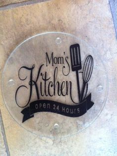 Mom's Kitchen Round Glass Cutting Board or Trivet - Nana or Grandma's Kitchen Also Available - Great Gift