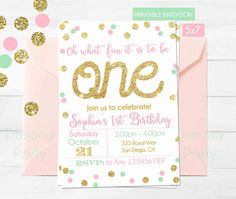Pink Mint and Gold First Birthday by DreamyPartyPrintable on Etsy