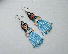 Mexican Lady Earrings Frida Kahlo earrings Mexican Fiesta Doll Earrings Fringe earrings Tassel earrings Beaded Earrings Seed bead Huichol