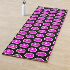 Shop Kiss Me (Black, Vertical Pattern) Yoga Mat created by BeeBeeDeigner. Pop Art Lips, Yoga Illustration, Retro Pop, Fused Glass Jewelry, Restorative Yoga, Dragon Art, Green Backgrounds, Kiss Me, Art For Sale
