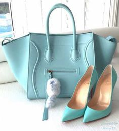 Emmy DE * Céline bag and Christian Louboutin Heels #turqouise