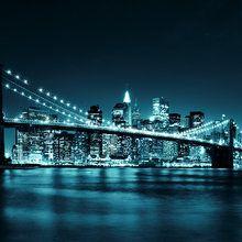 Valokuvatapetti - Brooklyn Bridge - Blue