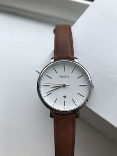 FOSSIL Womens Leather Simple Everyday Watch | eBay Fossil Watches, Fossil Bags, Simple Watches, Watches For Men, Fossil Leather Watch, Watch Display Case, Popular Watches, Birthday Presents, Christmas Presents