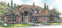 Aroland 30-121 - This impressive estate-size contemporary home plan has a two-story foyer and great room.