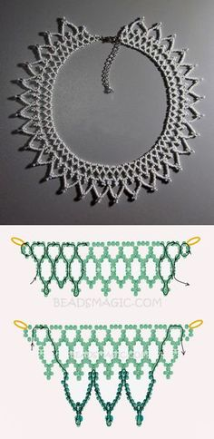 Free pattern for necklace Snow Touch seed beads 11/0 cube beads 4 mm seed beads 6/0 or round beads 4 mm
