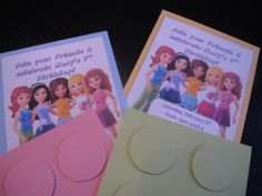 Lego Friends birthday invitations printed at home: colored card stock, lego-ish font, circles cut and adhered with pop-dots