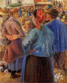 The Poultry Market at Pontoise - Camille Pissarro …