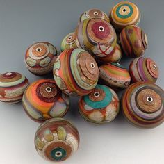Big ol' pile of capped and cored hollows. by wandering spirit designs (Aja Vaz) Polymer Clay Beads, Lampwork Beads, Beads Pictures, Handmade Beads, Beading Tutorials, Bead Art, Making Ideas, Glass Beads, Creations