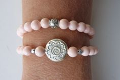 beachcomber double wrap bracelet  light pink magnesite bracelet by beachcomberhome, $24.00