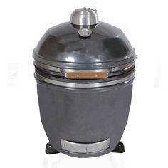 Hanover HAN191KMD-GM 19 In. Kamado Style Ceramic Grill with Build Kit- Gun Metal (Grey)