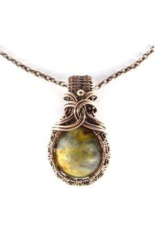 Mexican Crazy Lace Sun and Rain Agate Antique Copper Pendant Necklace Wire Wrap Jewelry