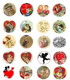 Vintage Valentine's Love Free Bottle Cap Images by Folie du Jour Bottle Cap Necklace, Bottle Jewelry, Bottle Cap Art, Bottle Cap Crafts, Bottle Cap Images, Diy Bottle, Valentine Day Love, Vintage Valentines, Valentine Ideas