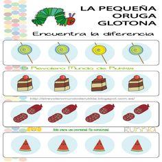 Juego oruga glotona, very hungry caterpillar game, books activities, actividades de cuento infantil, hungry caterpillar printable, imprimible oruga glotona