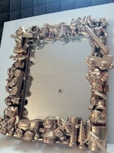 TOY Metallic GOLD Collage Assemblage MIRROR for Child's Room or Nursery,  Kitsch, One of a Kind
