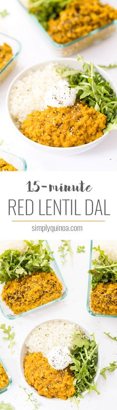 (I needed double the water, and it cooked even faster.) Using just one pot and ready in just 15 minutes, this easy VEGAN RED LENTIL DAL is a flavorful, plant-powered meal. Serve with quinoa, rice or flatbreads! Healthy Recipes, Veggie Recipes, Indian Food Recipes, Whole Food Recipes, Vegetarian Recipes, Cooking Recipes, Cooking Food, Food Prep, Red Lentil Recipes