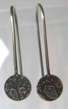 Oxidised Sterling Silver Discs. Dangle Earrings. by ZaZing on Etsy, $40.00