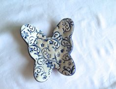 Blue and white Floral Ceramic Butterfly dish by PeachBlossomStudio