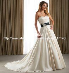 Apliques sin tirantes de la cola larga Blanco y Negro Una Línea Royal Wedding Dress DV003 en Vestidos de Novia de Moda y Complementos en AliExpress.com | Alibaba Group