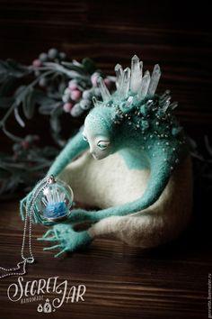 Купить Иччи - хранитель горных пещер - тёмно-бирюзовый, голубой, белый, сказочный персонаж, сказка