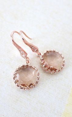 Rose Gold Champagne Glass drop Earrings