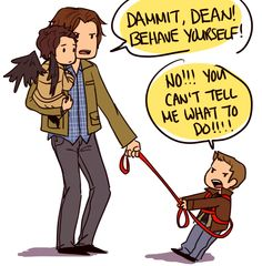 I like this picture, but I feel like instead of Sam holding down Dean and Cas, it should be Bobby, still holding Cas and still fighting a rebellious leashed Dean, but Sam is also leashed. However, Sam would be sitting complacently on the ground with a book or his laptop. Adam was supposed to go with them too, but they forgot him back at the house.