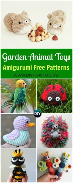 Collection of Crochet Amigurumi Garden Animal Toys Free Patterns: Amigurumi Duck, Ladybug, Parrot, Hedgehog, Squirrel, Frog and MORE via @diyhowto