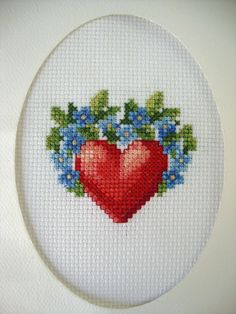 "COMPLETED FINISHED CROSS STITCH CARD ""VALENTINE RED HEART & BLUE FLOWERS DECOR"""