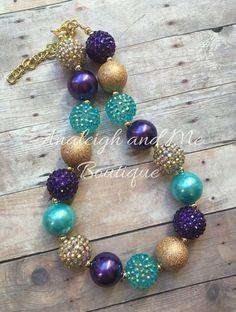 Sirena con tema grueso collar turquesa púrpura y por AnaleighandMe