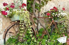 Idée récup pour votre jardin : Un vieux vélo peut servir de support pour exposer…