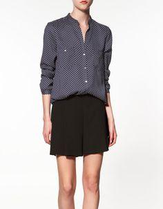 NAVY polka dot printed blouse ++ zara