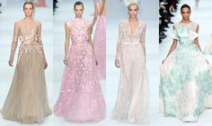 More of Elie Saab's flowing lace & pastel shades.