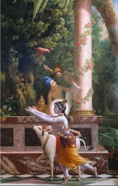 Krishna runs to His parents after a day in the forest with His friends and cows. Iskcon Krishna, Krishna Lila, Krishna Statue, Baby Krishna, Jai Shree Krishna, Lord Krishna Images, Radha Krishna Pictures, Radha Krishna Love, Shree Krishna Wallpapers