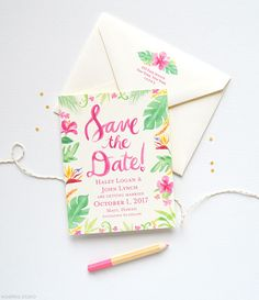 Save the dates for tropical beach wedding | www.mospensstudio.com