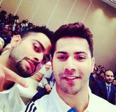 Selfie time for Varun Dhawan and virat Kohli. Pinned under The Celebrity Selfie Bollywood Couples, Bollywood Stars, Cute Celebrities, Celebs, Indian Celebrities, Virat Kohli And Anushka, Virat Kohli Wallpapers, Celebrity Selfies, Crush Pics