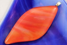 Streaky Orange Glass Pendant by BecauseofLily on Etsy