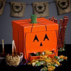 Make your own Duck Tape Pumpkin Candy Dispenser