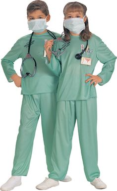 Unisex ER Doctor Halloween Costume - All attendants to the emergency room in their ER Doctor costume uniforms. This costume comes with a matching top and pants in a sea green nylon like material. The pants have an elastic waist and the top has a silkscreened pocket with pictures of a thermometer, pens, tongue depressor and scissors. On the opposite side of the pocket it says Property of Emergency Room do not remove. #doctor #er #costume #calgary #yyc #uniform #children #kids