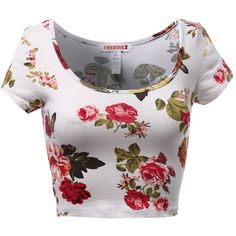 Floral Flower Print Scoop Neck Fitted Short Sleeve Crop Tops Coral... ($8.92) ❤ liked on Polyvore featuring tops, floral top, scoopneck top, coral top, flower print top and short sleeve tops