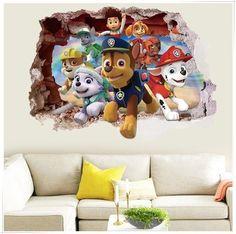 Kids Paw Patrol Dog Cartoon Scroll Wall Sticker Vinyl Art Decals Wallpaper Decor