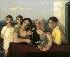 Title unknown (family & cat) by German painter Felix Nussbaum (1904-1944). via ten dreams