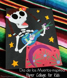 Make this calaca-inspired paper collage with your kids to celebrate the Mexican tradition of Dia de los Muertos.