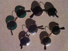4er Set Sonnenbrillen im 70er Jahre Stil Hippie Goa Brillen 70s grün rund style