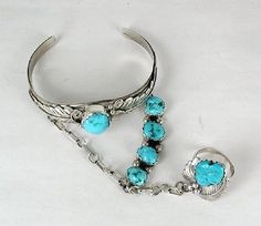 Native American Indian Jewelry; Navajo Sterling Silver Turquoise Slave bracelet